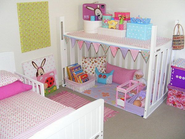 crib upside down as a playhouse for kids, Creative Old Crib Repurpose Ideas, http://hative.com/creative-old-crib-repurpose-ideas/,