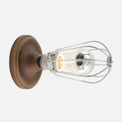 Franklin with Cage Wall Sconce Light Fixture | Schoolhouse Electric & Supply Co. $89  BATHROOM VANITY: Cabin Ideas, Schoolhouse Electric, Brass Schoolhouse, Wall Sconces, Bathroom Ideas, Cage Wall, Basement Ideas, Light Fixture, 89 00
