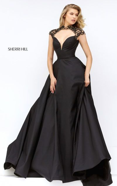 Black Cap Sleeves High Neckline Sherri Hill 50004 Cutout Beaded Patterned Long Satin Prom Dresses 2016