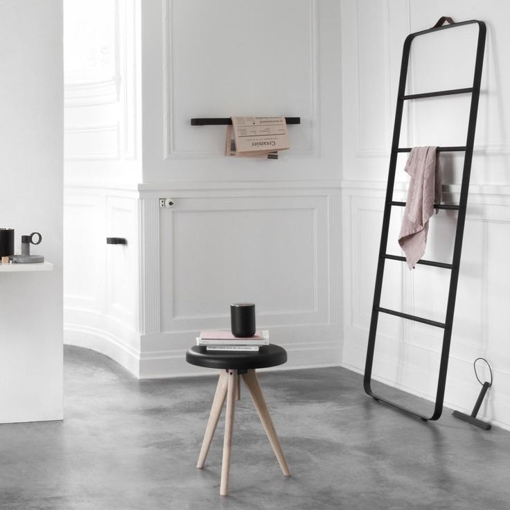 The Towel Ladder from Menu is an informal and flexible piece of furniture made for storing towels and accessories in the bathroom - clothes in the bedroom - or scarves and coats in the hallway.