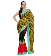 Yellow Faux Georgette and Net Saree | Fabroop USA | $48.00 |