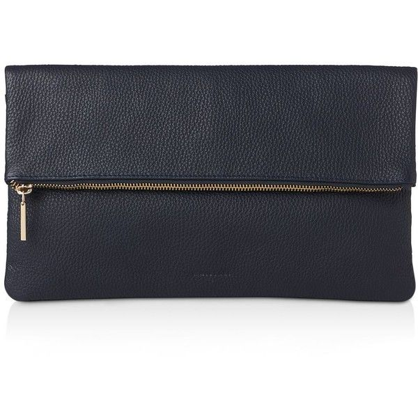 Whistles Fold Over Zip Leather Clutch (615 BRL) ❤ liked on Polyvore featuring bags, handbags, clutches, navy blue leather handbags, leather hand bags, man bag, navy blue handbags and leather handbags
