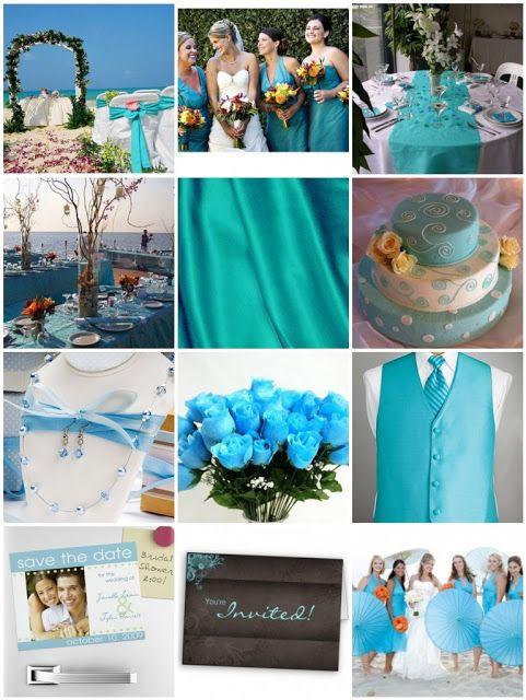 Decoración para bodas de color turquesa
