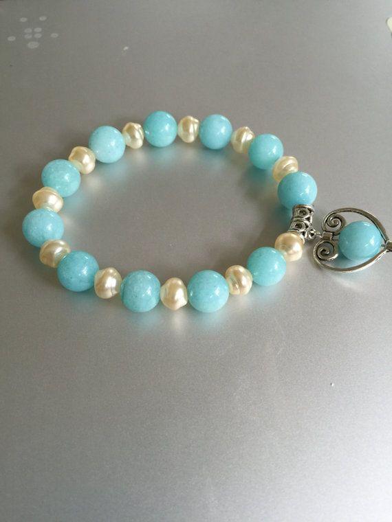 Bridal Light Blue Jade and Pearl Bracelet by joytoyou41 on Etsy