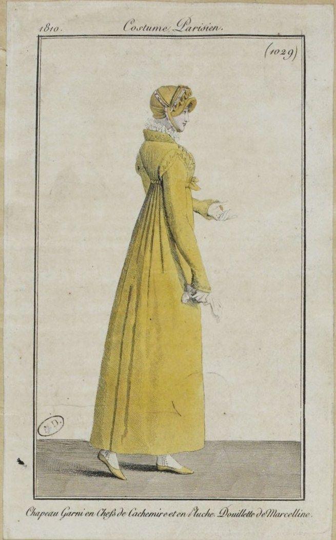 """Costume Parisien (1029), 1810. """"Chapeau Garni en Chefs de Cachemire et en Pluche. Douillette de Marceline"""""""