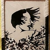 """Картины и панно ручной работы. Ярмарка Мастеров - ручная работа Картина из натуральной кожи """"Незнакомка"""". Handmade."""
