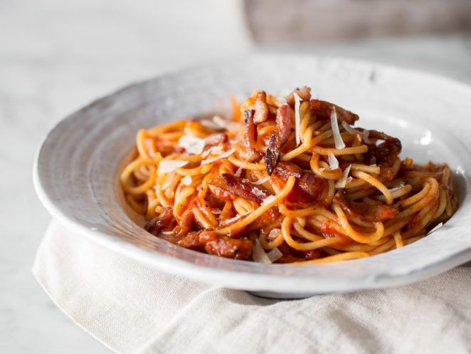 Pasta-Klassiker auf dem Teller: Spaghetti all'Amatriciana