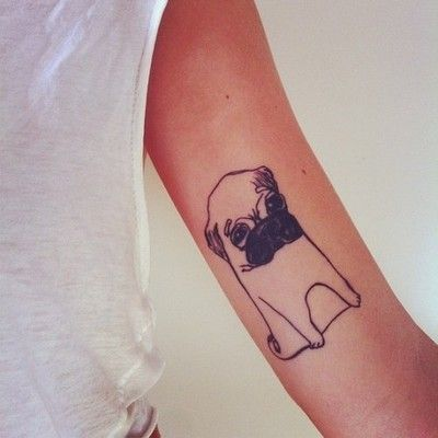 most adorable tattoo ever. will def be getting something similar to this someday, but a black pug :)