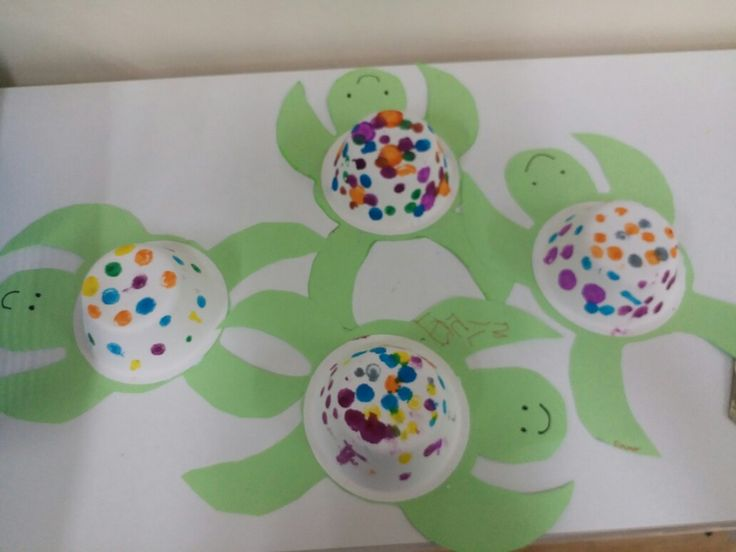Sea Turtle craft for preschool or kindergarten.  Made with paper bowls, green paper, glue and paint dot markers.  At Leapfrog Kindergarten and Playgroup in Sai Kung Hong Kong.