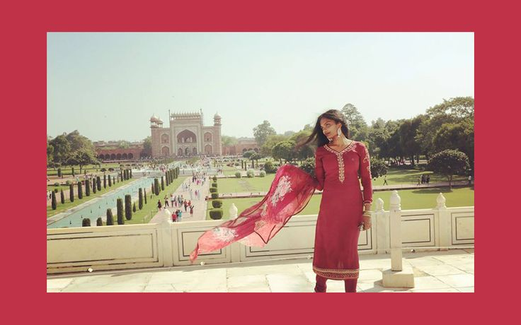 French model Niveththika photographed in Agra wearing a stunning red salwar kameez | India Models