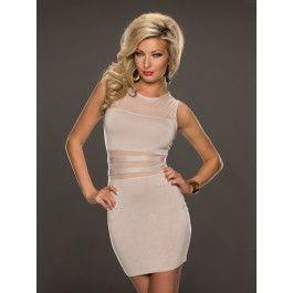 Vestido Beige Elegante Online MS758