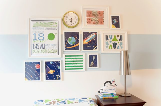 The Thrifty Abode: Nursery Gallery Wall- I want to do this with a plane and travel theme
