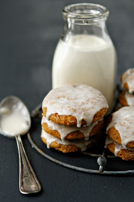 Delicious Pumpkin Cookies topped with a sweet vanilla glaze from My Baking Addiction