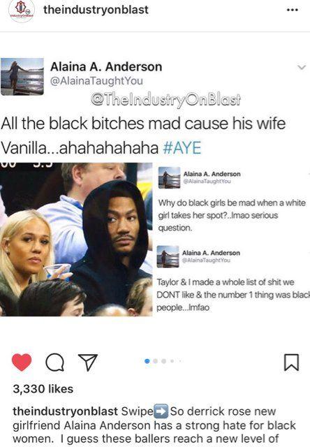 NBA STAR Derek Rose's BLONDE Girlfriend Makes RACIST COMMENTS . . . Towards Black Women On TWITTER!! – Knowledge