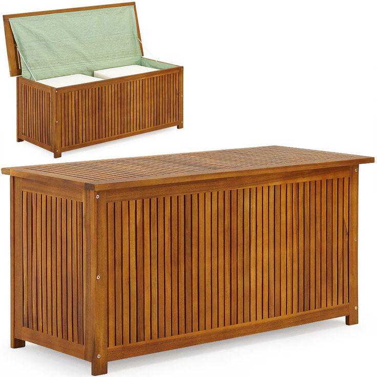 Auflagenbox Holztruhe 117cm Kissenbox Gartenbox Gartentruhe Auflagen Truhe in…