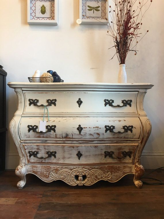 White Shabby Bombay Chest by RefinishedRescuesIN on Etsy