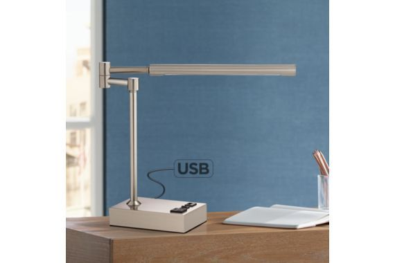 Slimline Swing Arm LED Desk Lamp with Outlet and USB Port - #EU8R829 - Euro Style Lighting