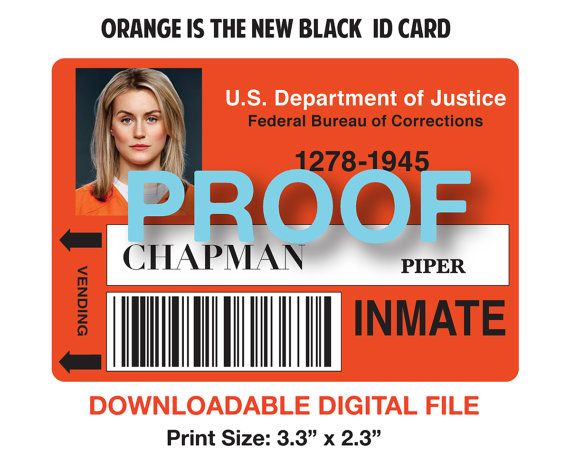 Piper Chapman Instant Download Inmate Id Badge By