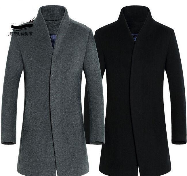 Mens Wool Coat Winter Overcoat Windbreaker Trench Coats Long Vogue Jackets