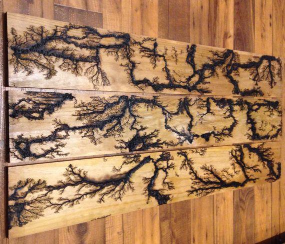 Repurposed wood wall art with Lichtenberg figures by SSandRdesign