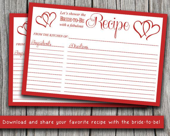 "INSTANT DOWNLOAD Bridal Shower Recipe Card | 4"" x 6"" Double Heart Recipe Card Printable 