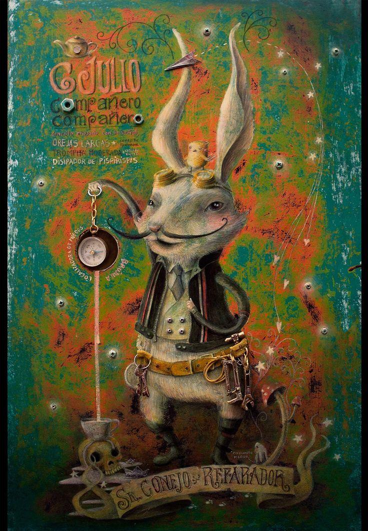 Señor Conejo Reparador; con su brújula mágica para localizar miedos. Ese conejo, se sienta contigo en los columpios, te escucha; y con su brújula mágica, encuentra tus miedos reparándolos los convierte en botones. Te sirven para hacerte una chaqueta, para ponerlos de adornos en la cesta de la ropa sucia. para hacer carteritas... o para arreglar esa  camisa o jean viejo que tanto te gusta