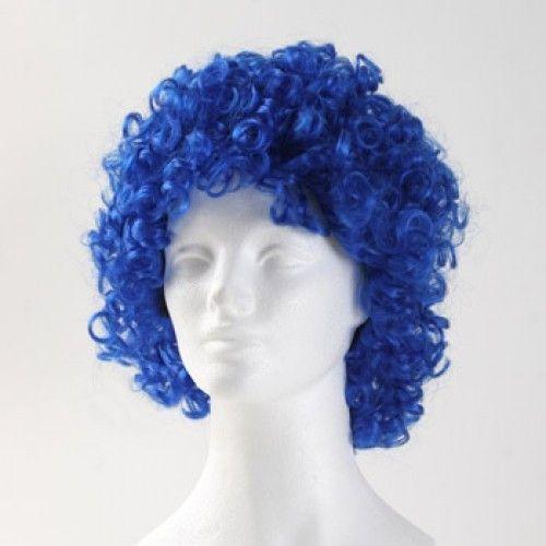 West Bay Curly Medium Clown Wig - Royal Blue