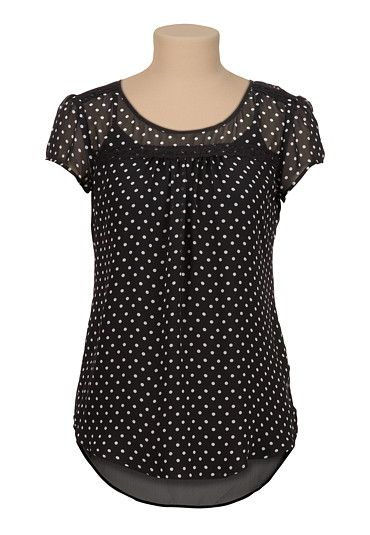 high-low chiffon dot print blouse with lace (original price, $26) available at #Maurices