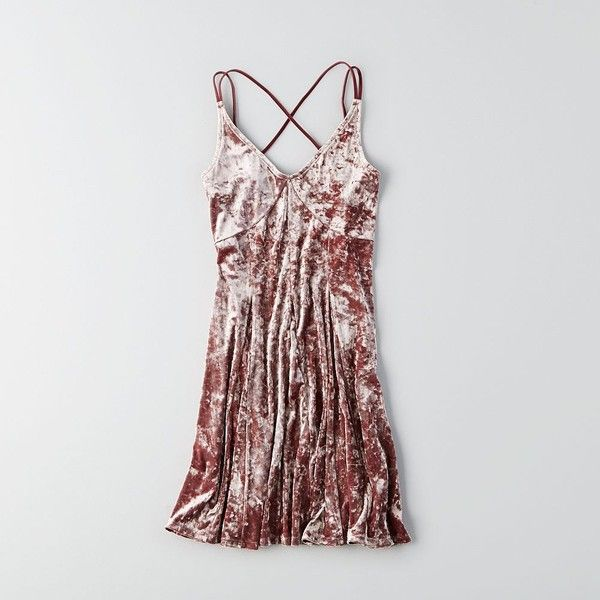 AE Crushed Velvet Slip Dress ($50) ❤ liked on Polyvore featuring dresses, pink, v neck dress, american eagle outfitters dresses, strappy slip dress, pink slip and crushed velvet dress