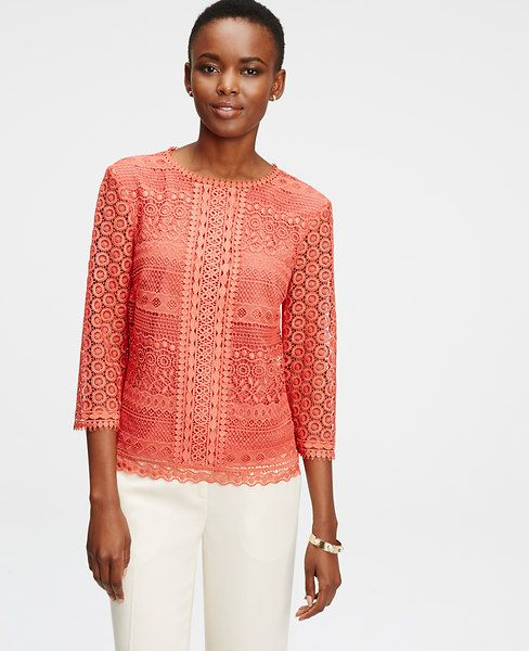 Lace, aced: this season, we're taking lace to a whole new level – designing it in surprising new colors and adding it as an unexpected accent to our favorite pieces. Jewel neck. 3/4 sleeves. Hidden back zipper. Lined body.