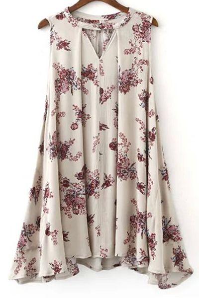 Flared Sleeveless Bohemian Dress