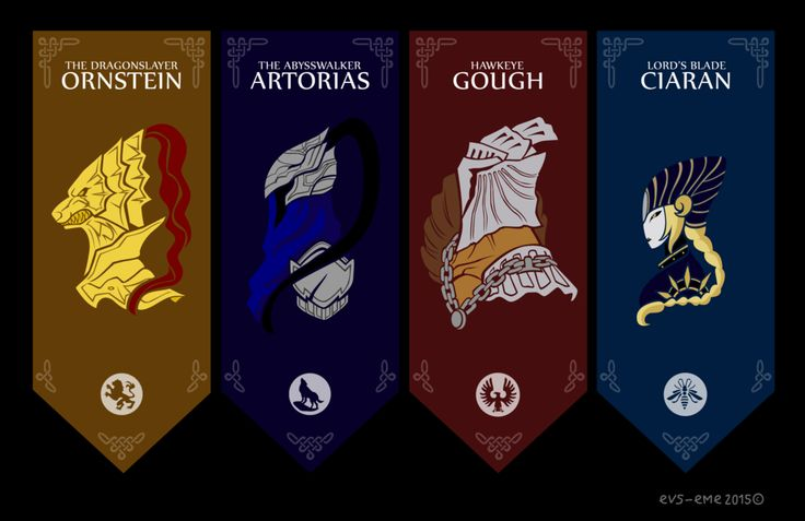Four Knights of Gwyn by evs-eme.deviantart.com on @DeviantArt The four knights of Gwyn in Dark Souls. They are one of the stories that I like the games, they were the knights of rank and the nearest Gwyn, Lord of Cinder. two of them are among the most difficult bosses in the game.  Eme   Ornstein, Artorias, Gough and Ciaran are Dark Souls © From Software and Namco/Bandai.  tools: Adobe Illustrator CS6