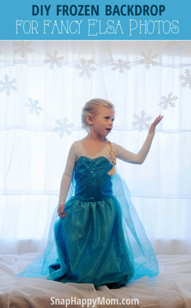 DIY Frozen Backdrop for Fancy Elsa Photos - SnapHappyMom.com - This Frozen backdrop is easy to put together and can totally dress up an indoor area for a magical picture of your Elsa!