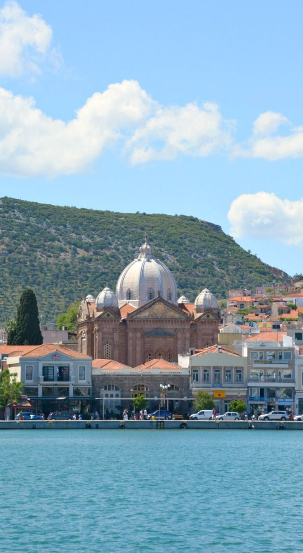 A view of Mytilene harbor on Lesbos island, Greece.