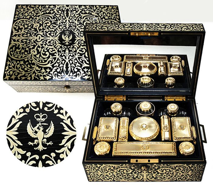 Stunning Antique Boulle Travel Vanity Chest, English Sterling & 18K Gold Vermeil, Crown Crest