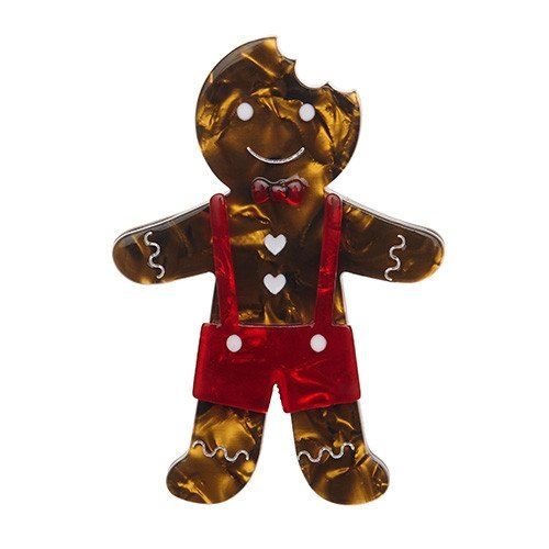 The Gingerbread Man comes back to Erstwilder's Christmas collection, wearing a red bow tie and shorts. Laser cut resin, hand assembled and hand painted, presented in a branded box as shown, with a cute teapot tag.
