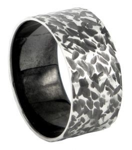 Spinless with kite pattern 12mm ring or wedding ring in sterling silver - $295