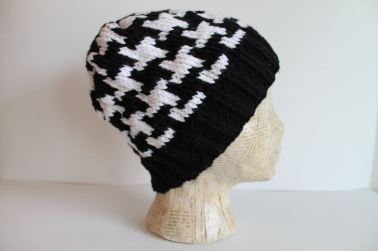 Handmade Knitted Black and White Hounds Tooth Beanie Hat Fair Isle Knitting by FunkieFrocks on Etsy