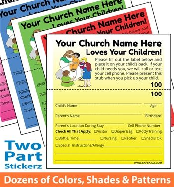 Infant/Toddler 2-Part Check-In Stickers