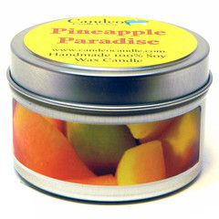 Pineapple Paradise 4oz Soy Candle Tin, Pineapple Paradise is the fragrant aroma of ripe pineapple, creamy coconut, banana, and melon. With this candle you can make your home your own tropical paradise.