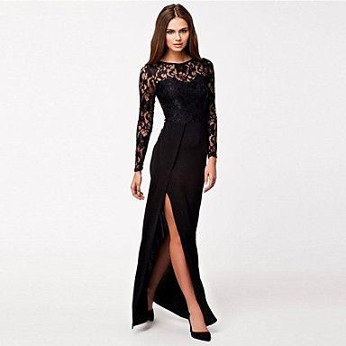 Zwarte lange jurk met kanten mouwen