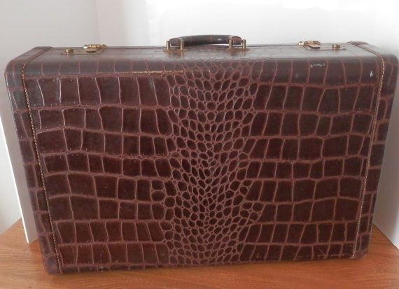Vintage Antosek Alligator Luggage- 1940's style Brown Vintage ...