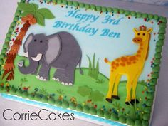 Giraffe and Elephant birthday - Cake by Corrie