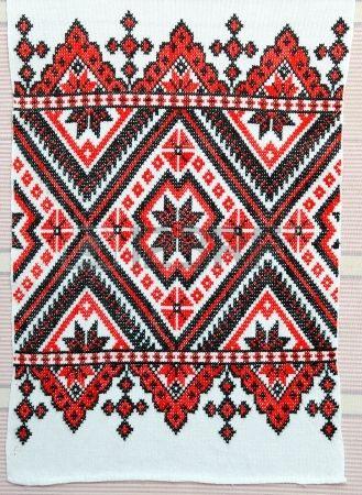 Gestickte gut mit Kreuzstich Muster ukrainische ethnische verzierung Stockfoto