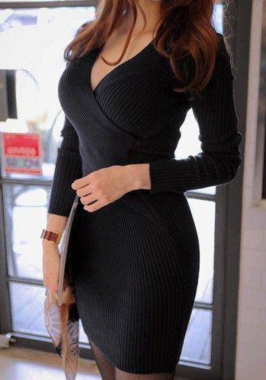 Long Sleeves Knit Dress - Black