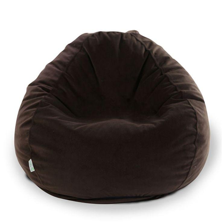 Majestic Home Goods 85907264007 Dark Brown Micro Velvet Small Classic Bean Bag