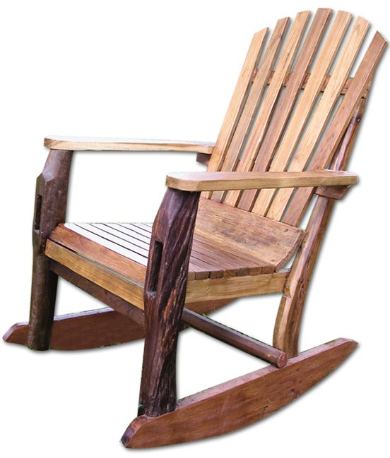 This Adirondack Rocking Chair has a beautiful weathered patina that adds rustic charm to home and garden.