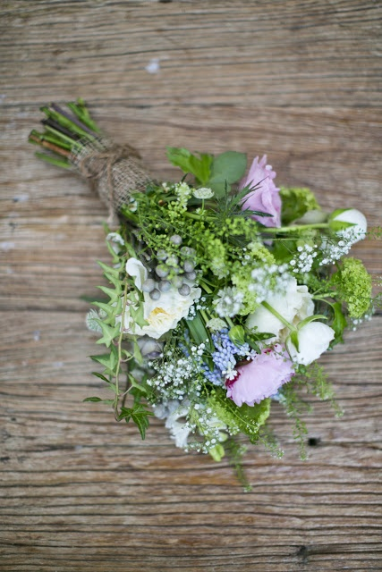 Wild Flower Wedding Bouquet (add a few yellow rises and it would be perfect)