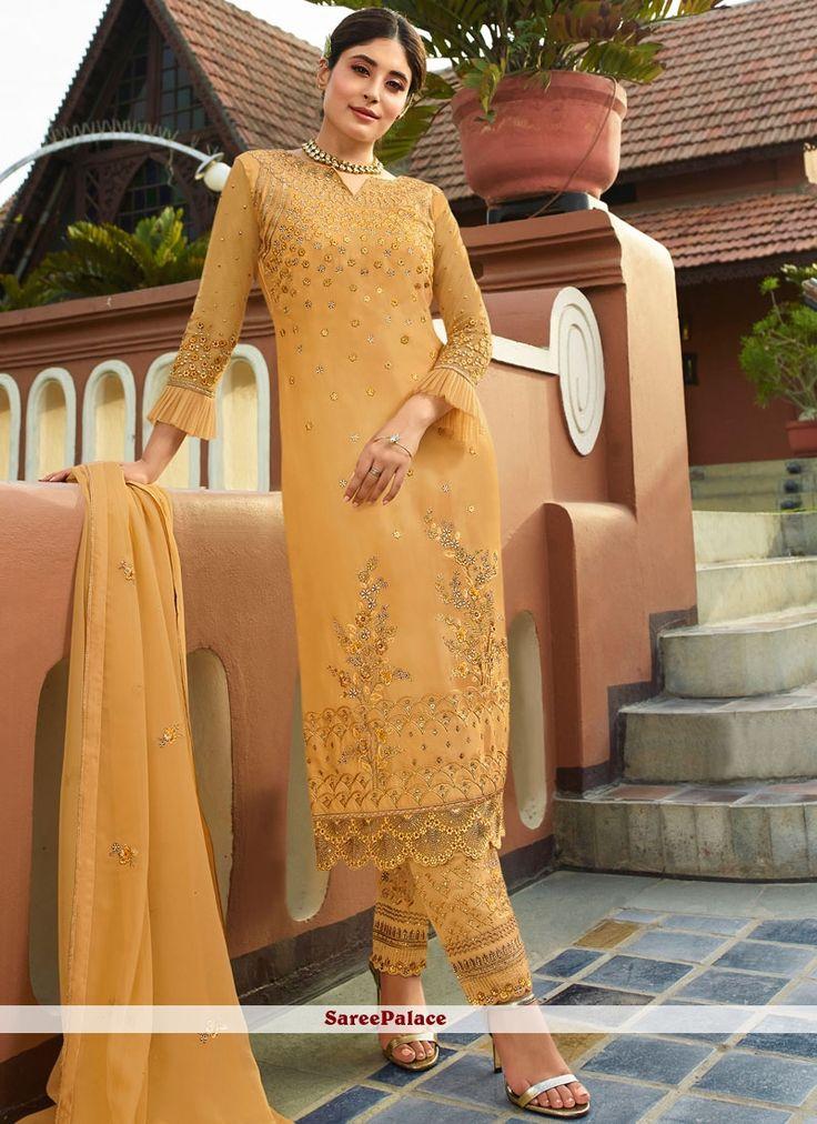 Gelb gestickter Georgette Pant Style Anzug