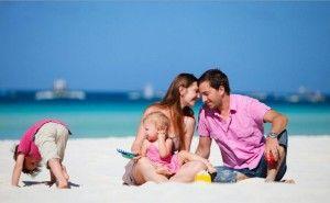 Дети, пляж, семья